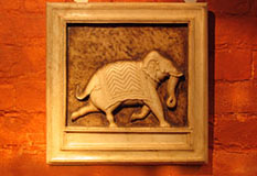 Carved Marble Elephant Panel